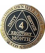 4 Month AA Medallion Elegant Black Gold and Silver Plated 120 Day Chip - $16.82