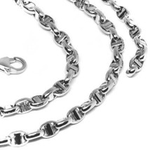 """18K WHITE GOLD CHAIN SAILOR'S NAUTICAL NAVY MARINER BIG OVAL 4mm LINK, 24"""" 60cm image 2"""