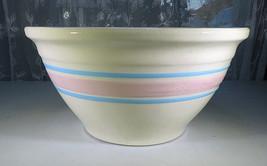 """Vintage MCcoy Banded Blue & Pink Pottery Stoneware 10"""" diam. Bowl Ovenpr... - $35.00"""
