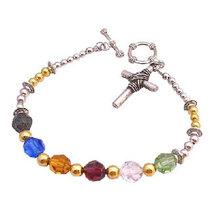 Salvation Bracelet Austrian Crystal Multicolor With Bali Spacer Sterling Silver  - $25.30