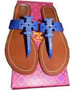 Tory Burch Moore Thong Sandal Cobalt Blue Leather Shoe Flip Flop 6.5 Slide - $147.00