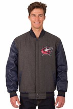 Columbus Blue Jacket Wool & Leather Reversible Jacket with Embroidered L... - $249.99