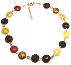 """NECKLACE RED BROWN YELLOW ROUNDED MURANO GLASS DISC, 45cm, 18"""", MADE IN ITALY image 1"""