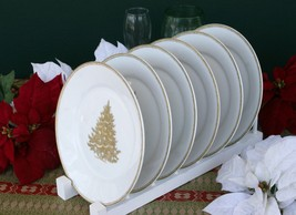 WILLIAMS-SONOMA Gold Christmas Tree Plates (Six) –NWT- Trim Your Table In Style! - $149.95