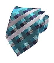 Secdtie Men Checks Blue Silver Grey Navy Jacquard Woven Silk Tie Necktie YUE16