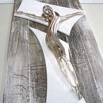 "HANDMADE BIG PANEL WALL CRUCIFIX, PAINTED WOOD, STYLIZED CHRIST, 23.6"" ITALY image 6"