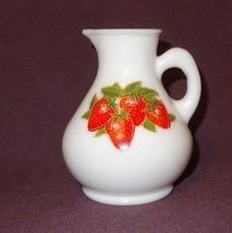 Vintage Avon Milk Glass Bottle Strawberries & Cream Bath Foam 4 oz Empty  - $11.43