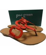 $250 Paul Green LANAI Thong Sandals Red Leather Shoes Slides 9 T Strap F... - $79.00