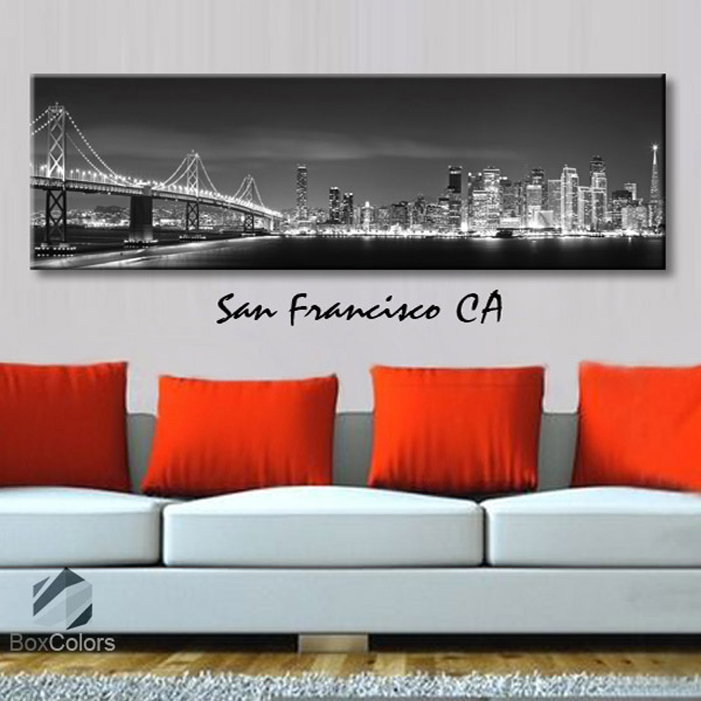 Single panel Art Canvas Print City Skyline San Francisco CA Downtown Wall decor