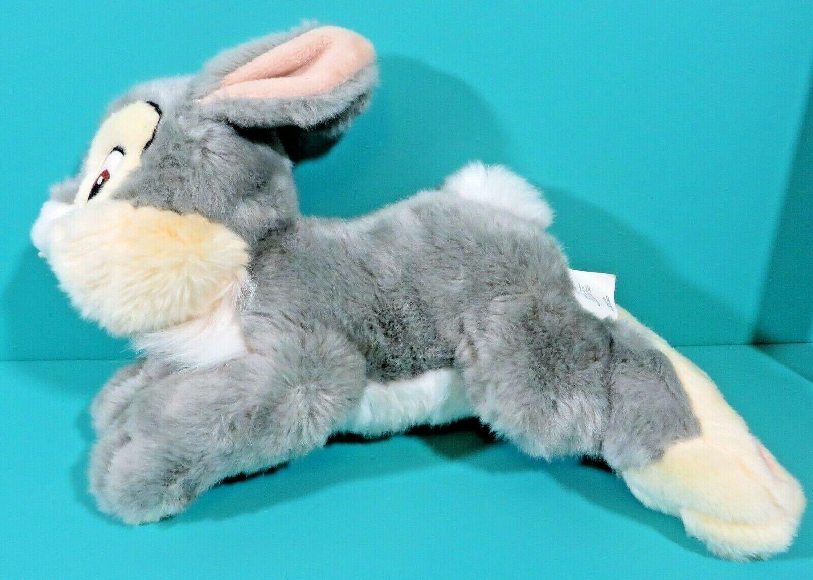 "Disney Store Bambi Thumper Gray Cream Bunny Rabbit 13"" Long Plush Stuffed Animal"