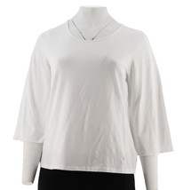 Women with Control 3/4 Bell Slv T-Shirt White M NEW A301325 - $23.74