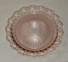 "Vintage pink depression glass serving plate with open lace edge 10.25"" R... - $21.77"