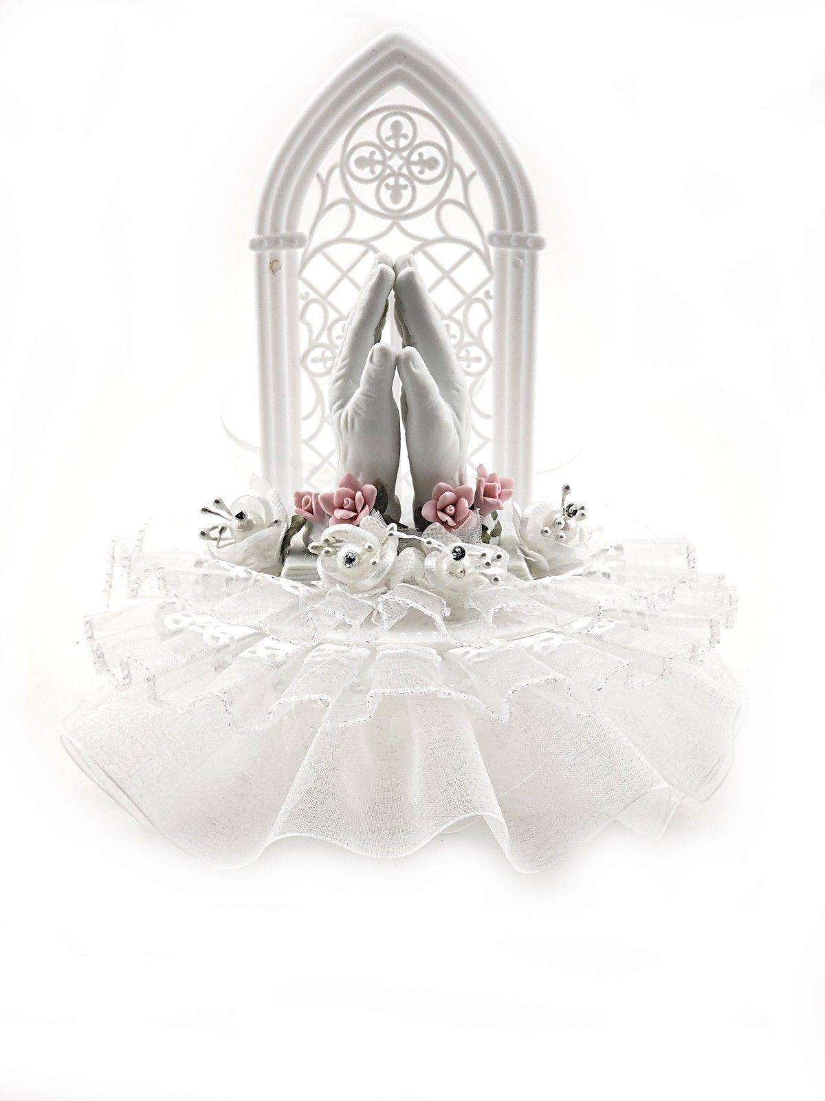 Communion/Christening Praying Hands Cake Top with Lace Trim and Silk Flowers All