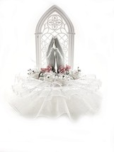 Communion/Christening Praying Hands Cake Top with Lace Trim and Silk Flo... - $27.67