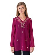 Indigo Paisley Aurora Womens Full Sleeve Tunic with Allover Embroidery M... - $25.94