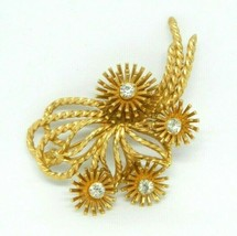MARVELLA Vintage Gold Tone Brooch Pin Flower Clear Rhinestones Signed  - $24.74