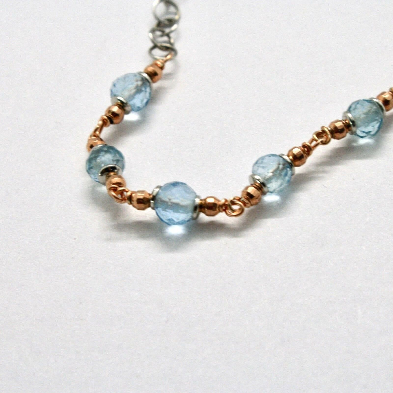 SILVER 925 BRACELET LAMINATED GOLD PINK WITH AQUAMARINE AND ZIRCONIA CUBIC