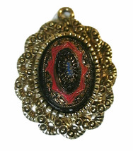 Vtg Sarah Coventry OLD VIENNA Oval Pendant EUC 1970s Red Black Blue No Bail - $7.00