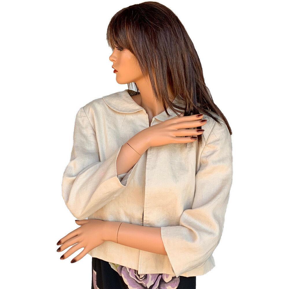 Isaac Mizrahi Beige Linen Jacket Size 12  - $7.99