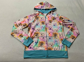 Justice 14 Blue Rainbow Puppy Dog Full Front Zip Hoodie Sweatshirt Photo... - $16.99