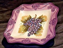 MERLOT Hand Painted Ceramic Grape Serving Dish Square AA18-1253 Vintage image 4