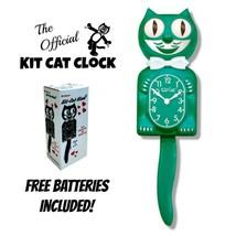 "GREEN BEAUTY KIT CAT CLOCK 15.5"" Free Battery MADE IN THE USA Kit-Cat Klock - $59.99"