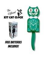 "GREEN BEAUTY KIT CAT CLOCK 15.5"" Free Battery MADE IN THE USA Kit-Cat Klock - £48.86 GBP"