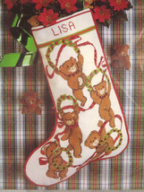 Candamar Teddy Bear Wreaths Christmas Stocking Counted Cross Stitch Kit ... - $34.64