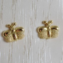 18K YELLOW GOLD EARRINGS MINI BUTTERFLY, SATIN FOR KIDS CHILD MADE IN ITALY image 1