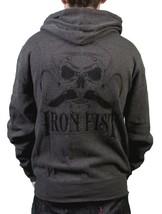 Iron Fist Uomo Melcher Francese Costina Bruciato Carbone Felpa Teschio Baffi Nwt image 2