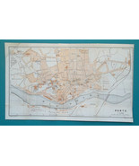 "PORTUGAL OPORTO Porto City Plan - 1913 Baedeker Map 7 x 12"" (17 x 30 cm) - $18.00"