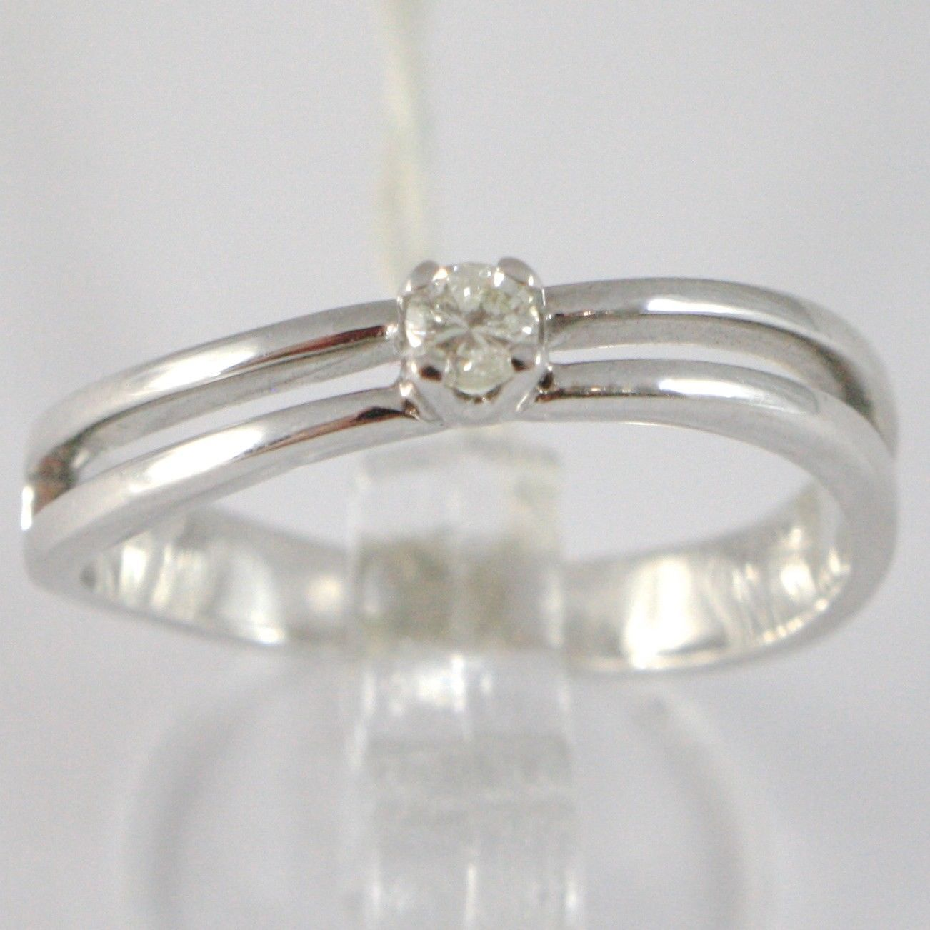 ANILLO DE ORO BLANCO 750 18 CT,SOLITARIO,BINARIO SQUARED,DIAMANTE,QUILATES 0.09