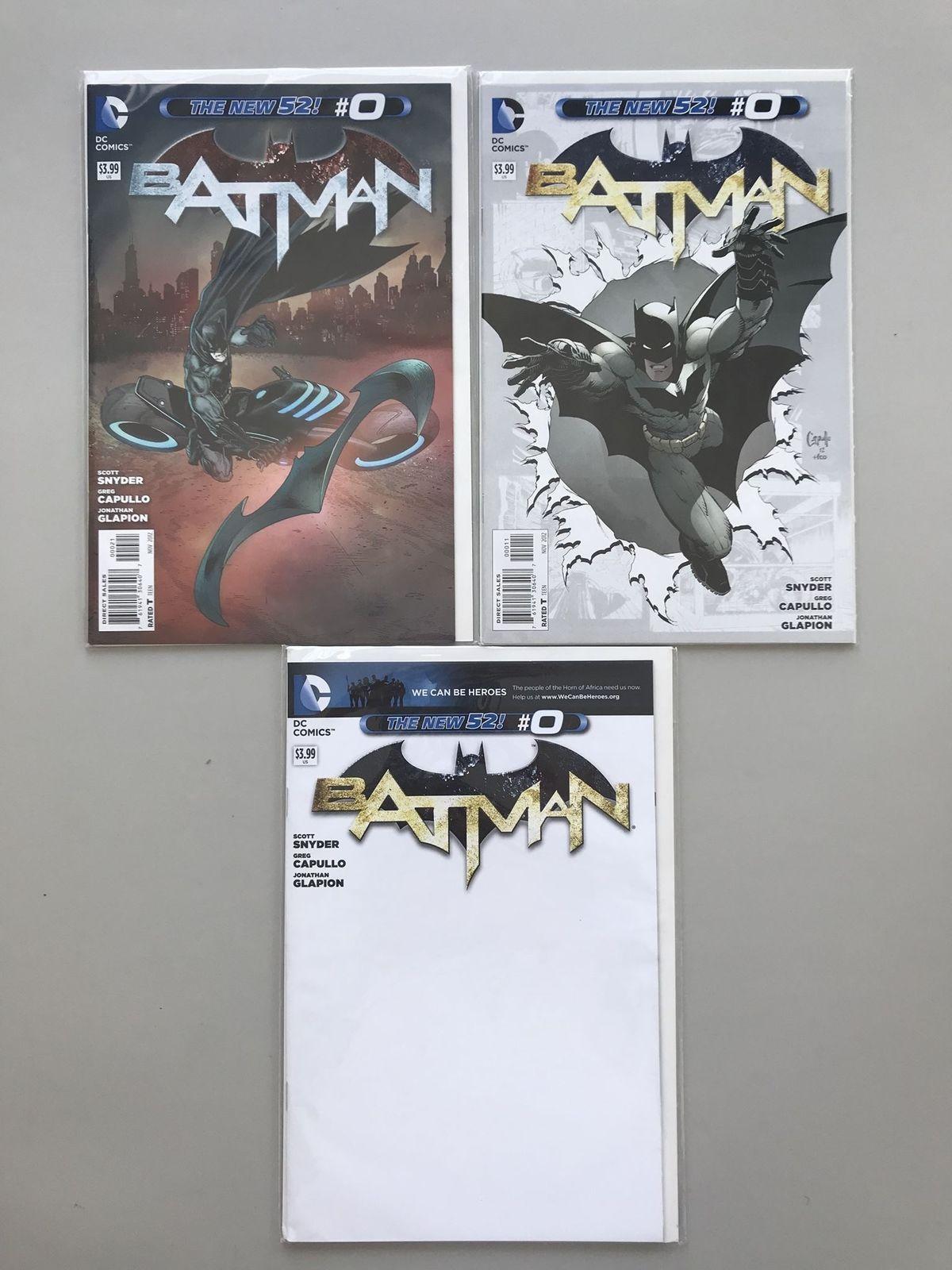 Lot of 3 Batman (2011 2nd Series) #0A 0B 0D 0 1 Variant New 52 VF-NM Near Mint