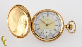 Elgin Antique Mini Hunter 18K Yellow Gold Pocket Watch Gr 208 Size 0 7 J... - $3,341.25
