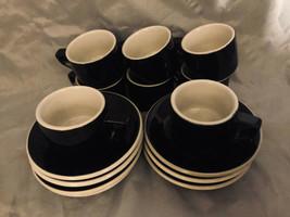 "Demitasse Cups Saucers 14 PC Black & White 2.5"" x 2"" NEW - $32.95"