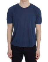 NEW $384 DOLCE&GABBANA Blue Cotton Silk Crewneck Short Sleeve T-shirt IT... - $110.92