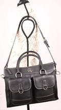 Dooney & Bourke Pebble Leather Double Pocket Tote Handbag R300C Black Pre-Owned - $79.29