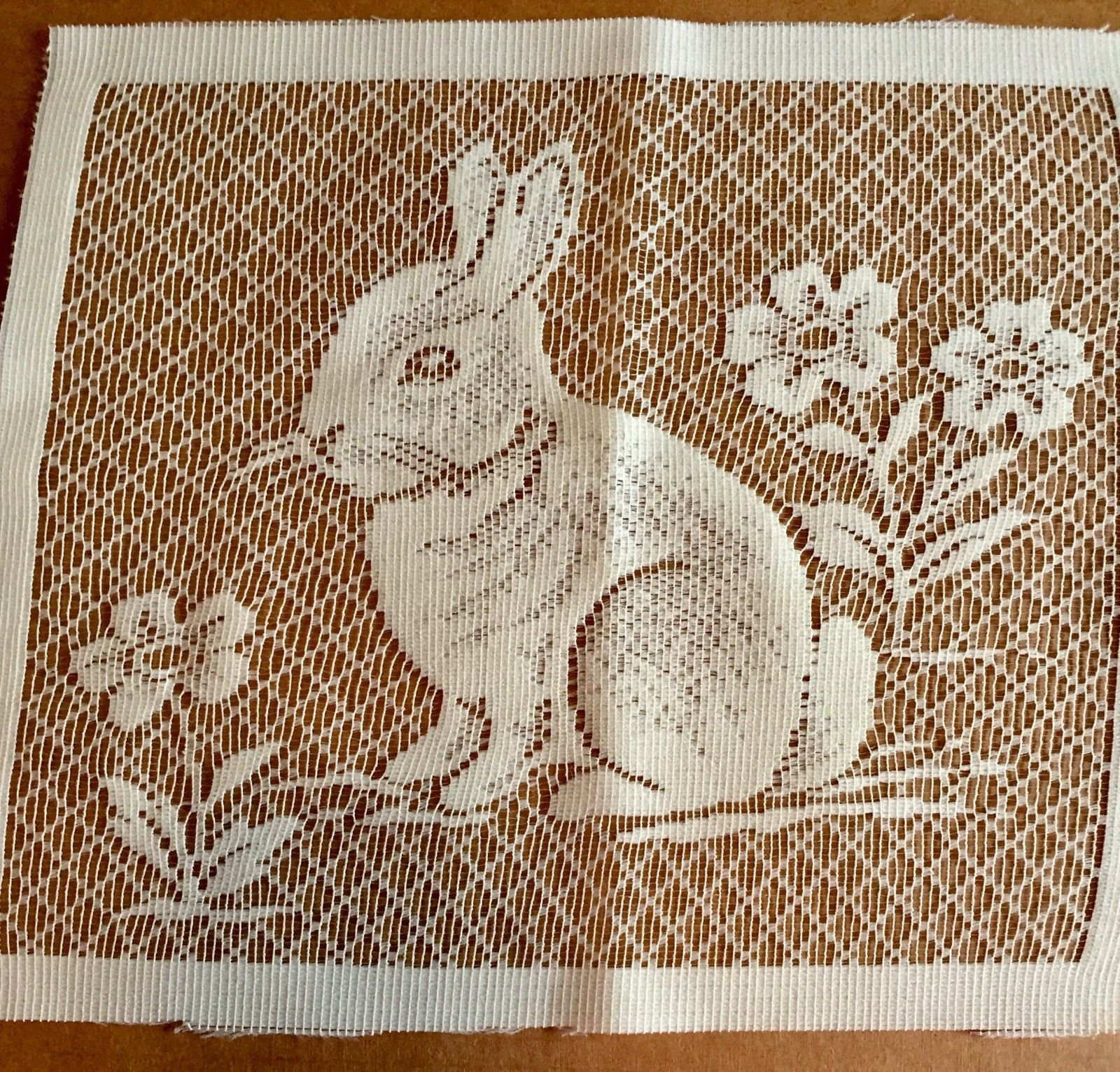 White Lace Bunny Rabbit Panel Square 10.5 X 9 inches Crafts Easter Flowers image 3