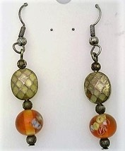 Amber Floral Glass Bead Earrings - $11.99