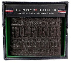 NEW TOMMY HILFIGER MEN'S PREMIUM LEATHER COIN WALLET YEN BILLFOLD BROWN 5647/02