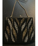 Vintage Black With Silver And Gold Tone Beaded Clutch Bag - $28.71