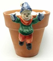 NATURE SERIES Hand Painted Poly Resin Snowman Pot Sitter 2.5 inches (Gre... - $12.38