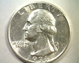 1936-D WASHINGTON QUARTER CHOICE ABOUT UNCIRCULATED CH. AU NICE ORIGINAL... - $365.00