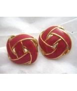 """Vtg Napier red enamel knot gold tone 1""""  post earrings signed - $14.84"""