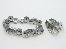 VTG JULIANA D&E Silver Tone Smoke Gray Rhinestone Five Link Bracelet Ear... - $222.75