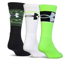 Under Armour TRAINING Youth Crew Socks 3 Pack YLG Large Black Lime White... - $15.79