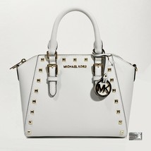 NWT $328 Michael Kors Ciara White Saffiano Leather Studded Satchel Crossbody Bag - $168.88