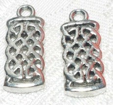 CELTIC KNOT RECTANGULAR FINE PEWTER PENDANT  - 2x20x8mm