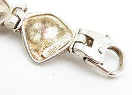 925 Sterling Silver - Vintage Smooth Curved Hinge Link Chain Bracelet - B5997 image 4