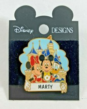 Disney Designs Minnie Mickey Donald Personalized Castle Pin MARTY - $9.89